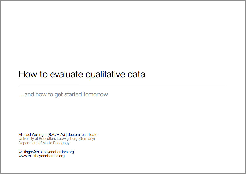 "Talk on ""Evaluating and Analyzing Qualitative Data"" @ Mobiento ..."